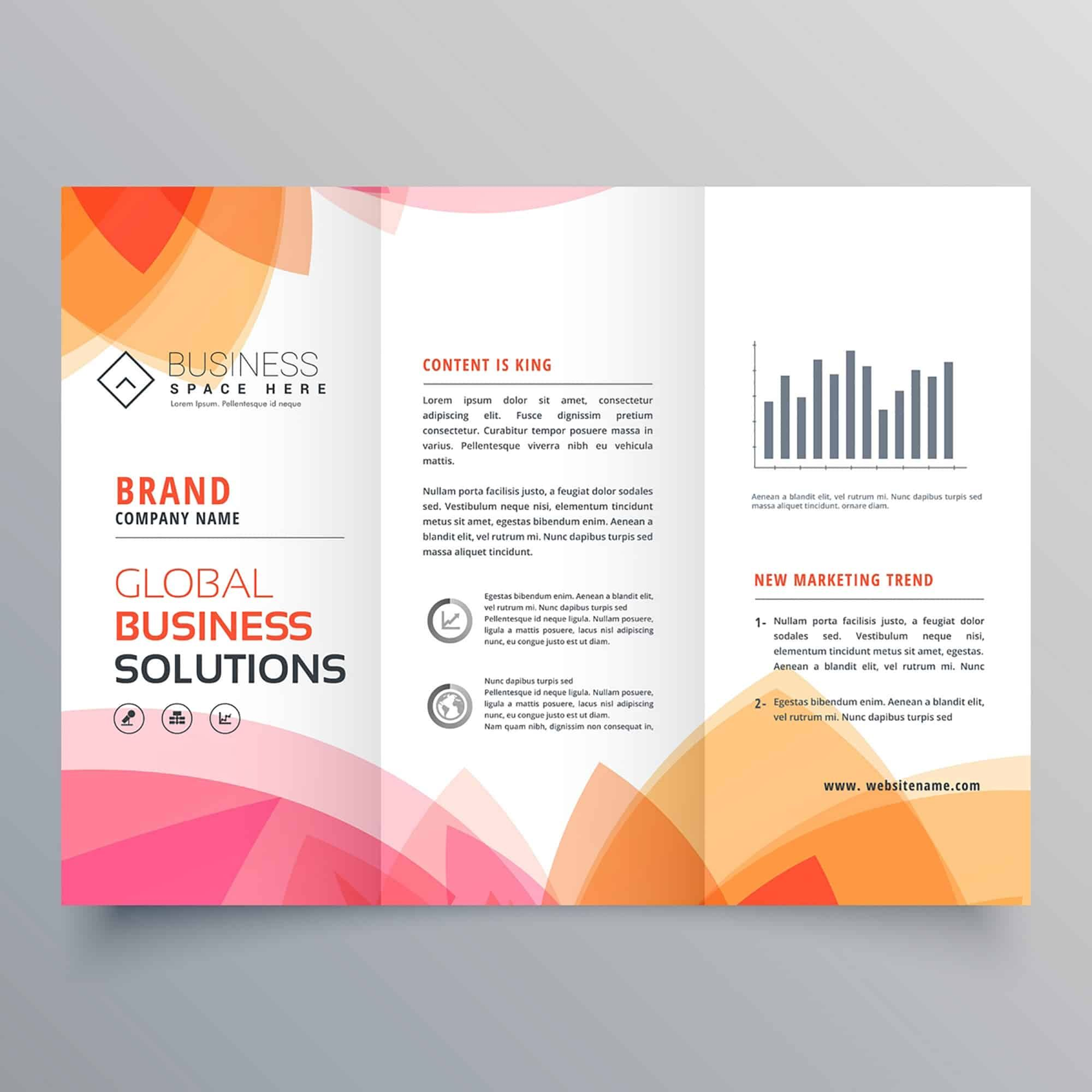 business trifold brochure template with soft pink and orange colors